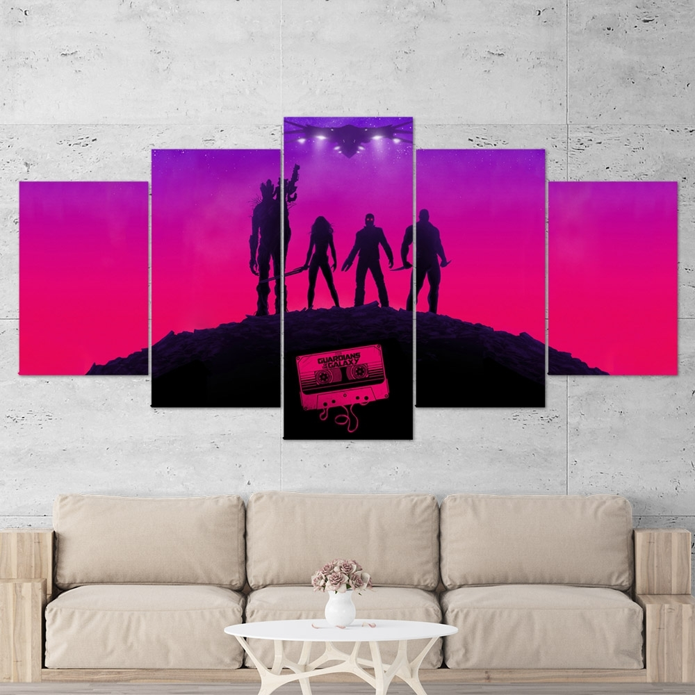 Guardians Of The Galaxy 02 – 5 Piece Canvas Wall Art Gaming Canvas With 2018 5 Piece Wall Art (View 12 of 20)