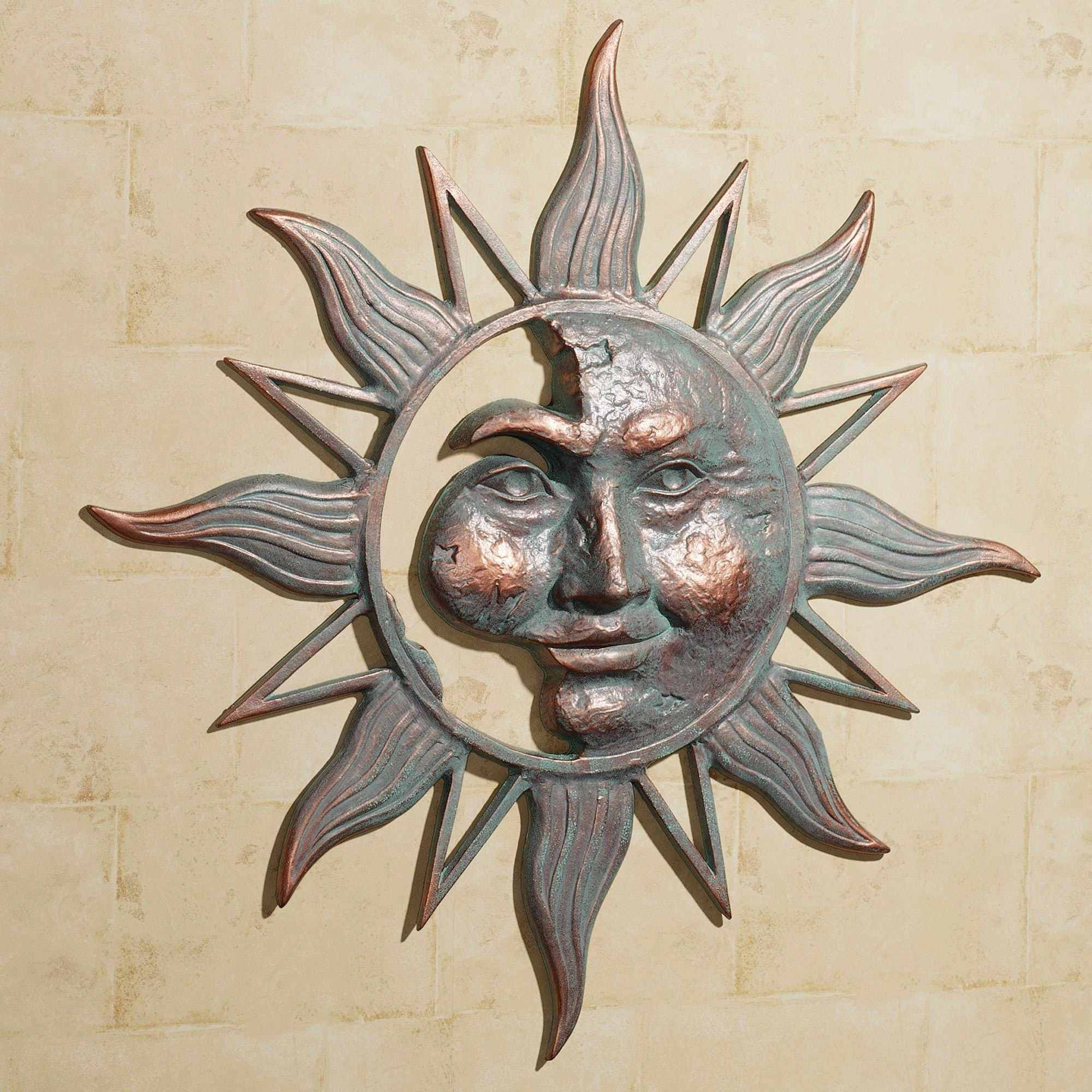 Half Face Sun Indoor Outdoor Metal Wall Art With Regard To Current Metal Outdoor Wall Art (View 7 of 20)