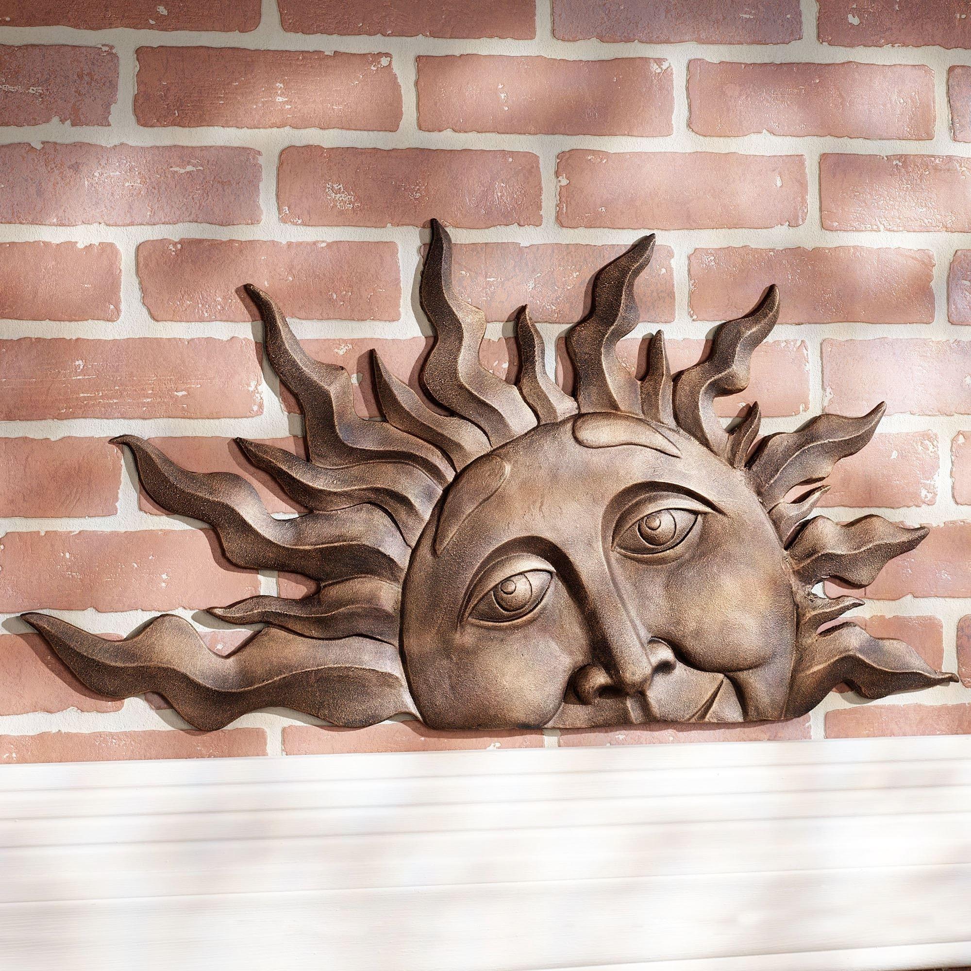 Half Sun Face Indoor Outdoor Metal Wall Plaque Art Within Best And Newest Outdoor Sun Wall Art (Gallery 10 of 15)