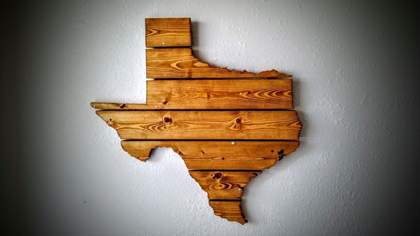 Hand Crafted Texas Wooden State Map Wall Artcompass Woodworking For Recent Texas Wall Art (Gallery 14 of 20)