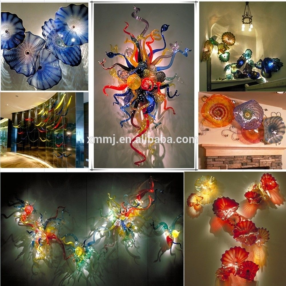 Hand Made Decorative Blown Murano Art Colored Glass Murals Wall In Newest Blown Glass Wall Art (View 15 of 20)