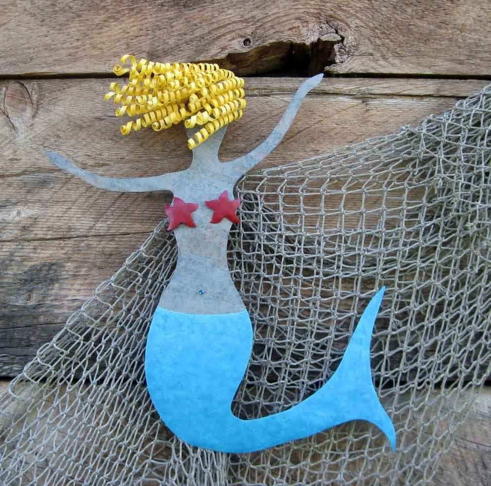 Hand Made Mermaid Metal Wall Art Sea Life – Clara – Beach House Wall Regarding 2018 Sea Life Wall Art (View 6 of 15)