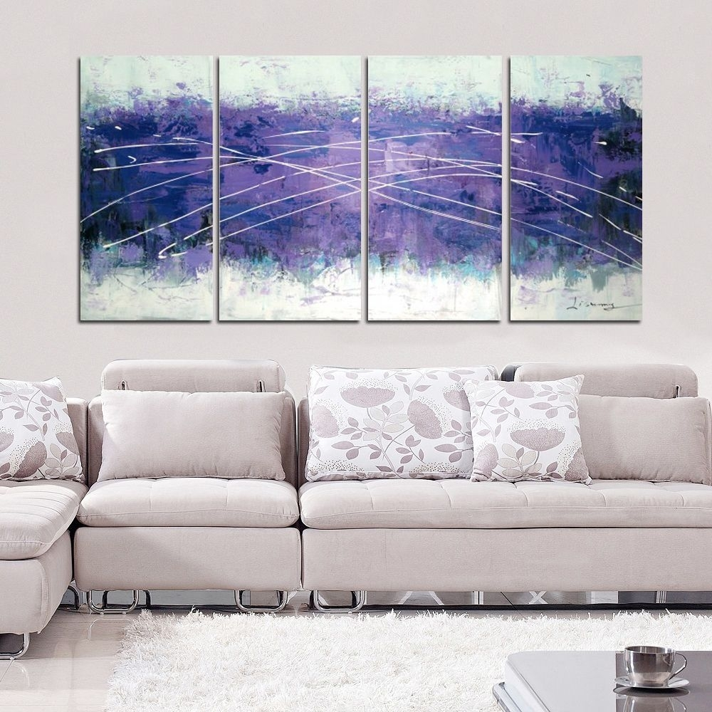 Hand Painted Cloudy Purple Abstract 4 Panel Wall Art 1214 Intended For 2017 Overstock Wall Art (View 5 of 20)