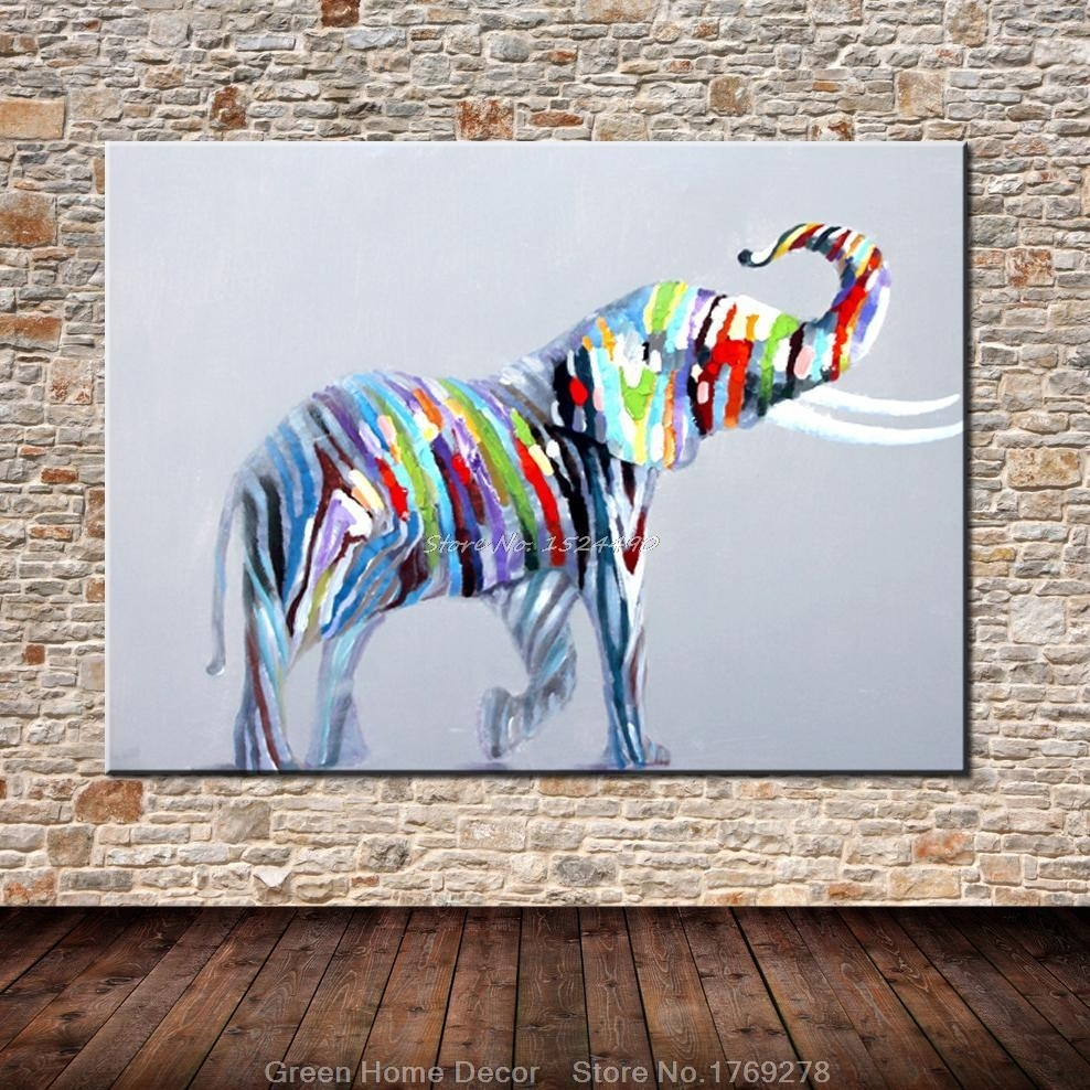 Hand Painted Lovely Elephant Wall Art Beauty Funny Animal Home Decor In Best And Newest Elephant Wall Art (Gallery 10 of 15)