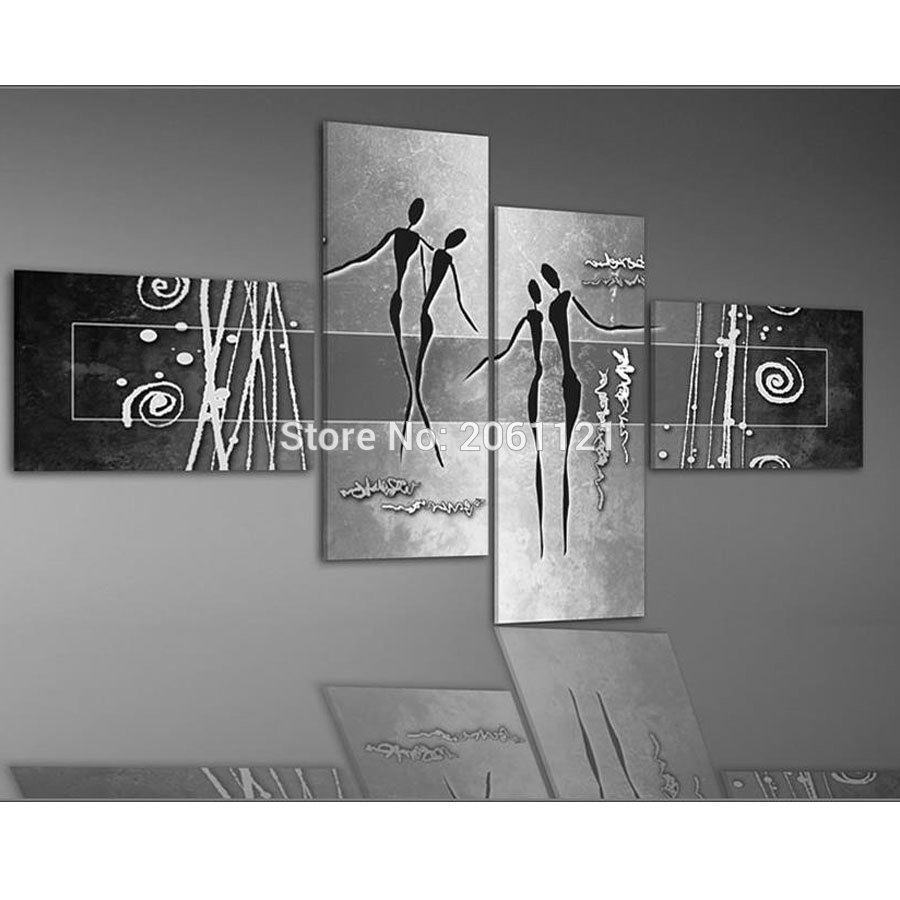 Hand Painted Modern Abstract Home Decoration Wall Art 4 Piece Set With 2018 Grey Wall Art (Gallery 18 of 20)