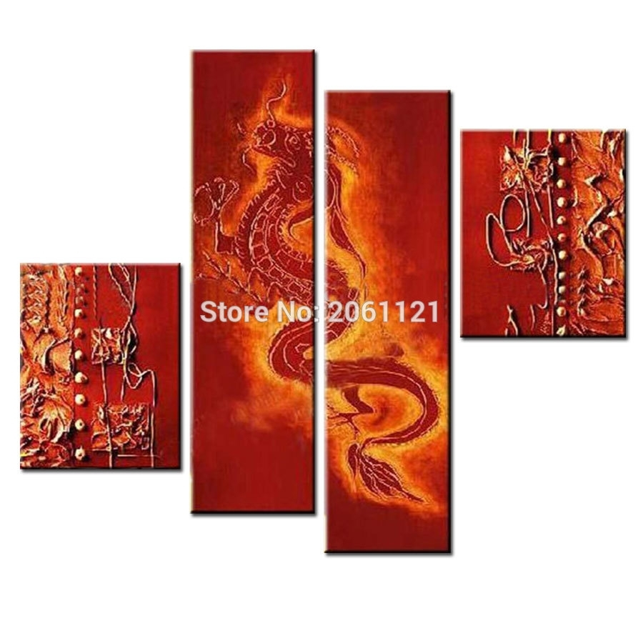 Handmade Canvas Wall Painting Red Dragon Oil Painting Traditional With Regard To Best And Newest Chinese Wall Art (Gallery 9 of 20)