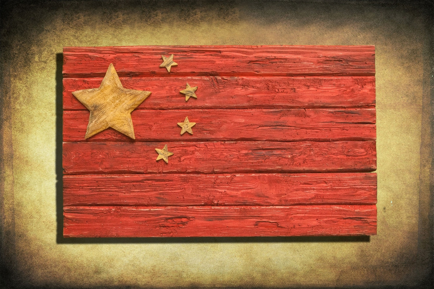 Handmade, Distressed Wooden Chinese Flag, Vintage, Art, Distressed Regarding Best And Newest Chinese Wall Art (View 14 of 20)
