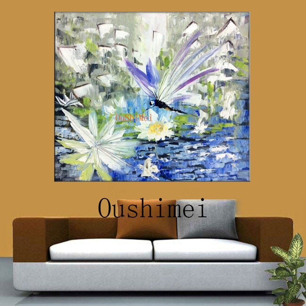 Handmade Dragonfly Paintings Big Size Abstract Animals Picture With Most Current Dragonfly Painting Wall Art (View 4 of 20)