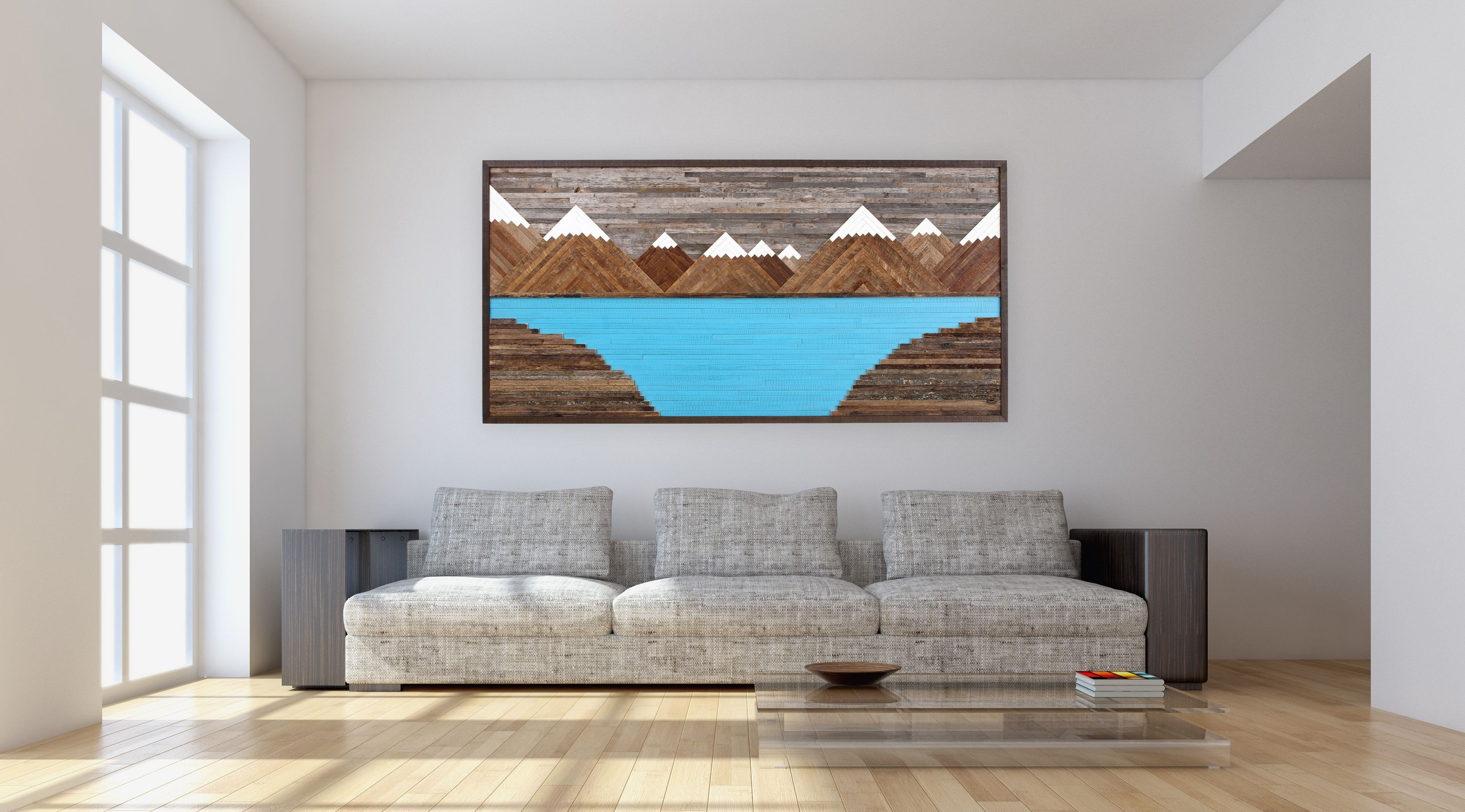 Handmade Glacier Mountain Landscape, Wood Wall Art, Reclaimed Wood With Most Recently Released Rustic Wall Art (View 12 of 15)