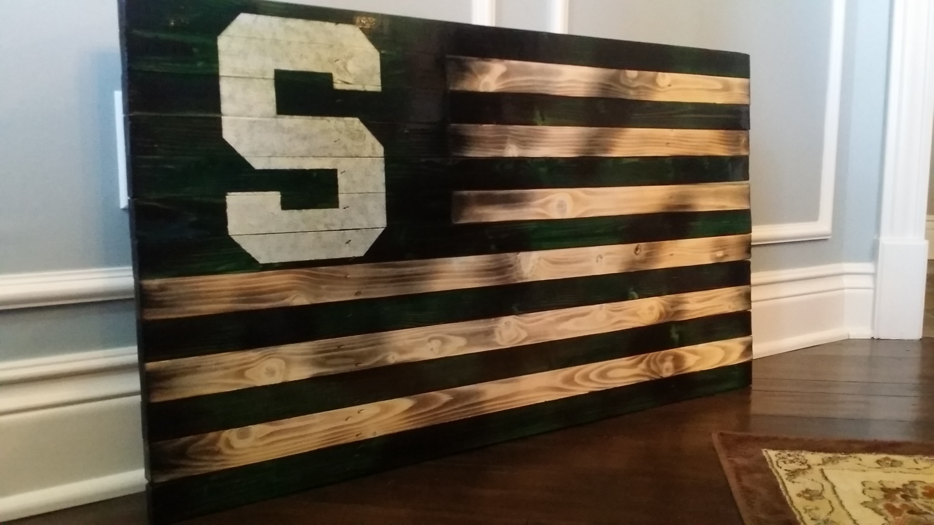 Handmade In Usa, Vintage, Rustic And Distressed Wooden U.s. American Throughout Most Recent Michigan Wall Art (Gallery 19 of 20)