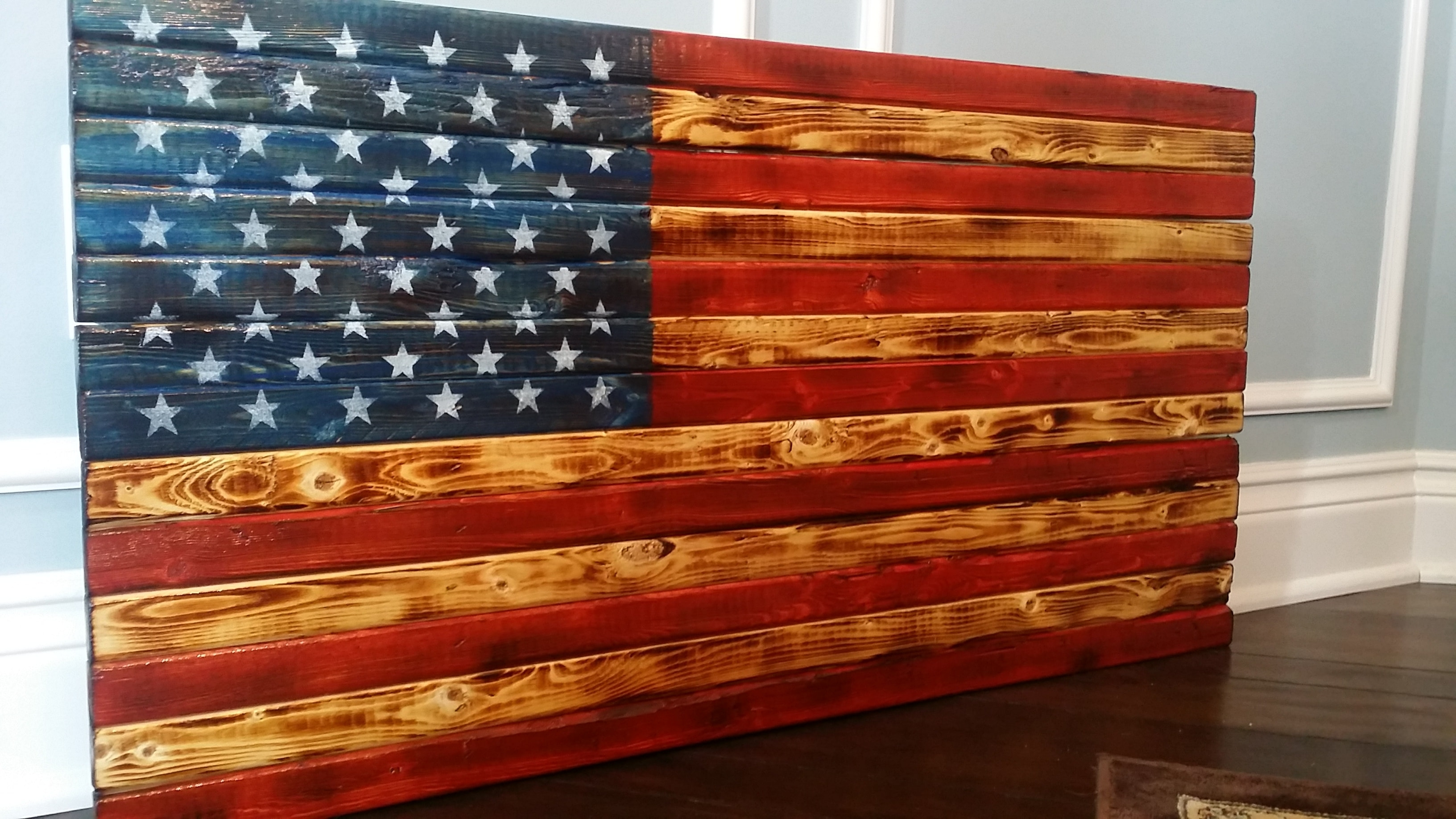 Handmade In Usa, Vintage, Rustic And Distressed Wooden U.s. American With Most Popular Rustic American Flag Wall Art (Gallery 3 of 20)