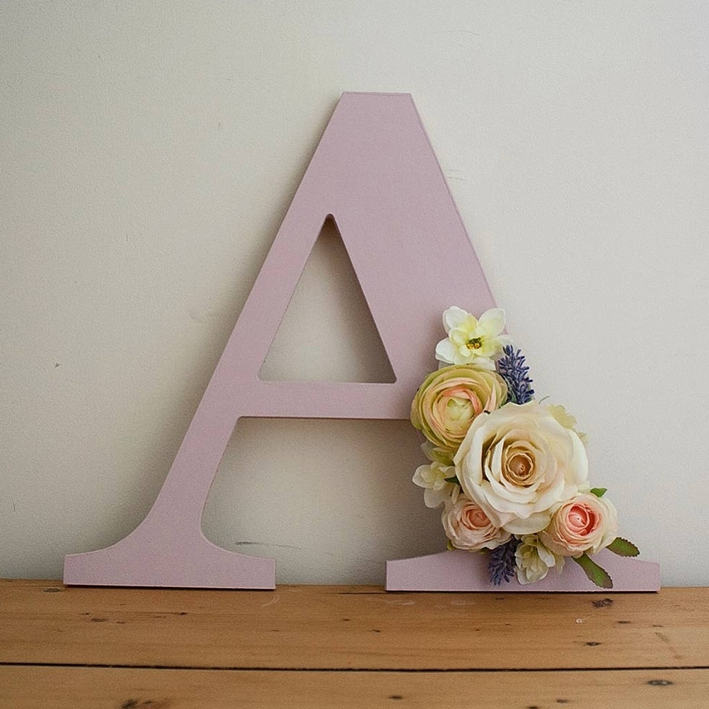 Handmade Painted Flower Letter Wall Arttwine & Bloom Pertaining To Newest Letter Wall Art (View 5 of 20)