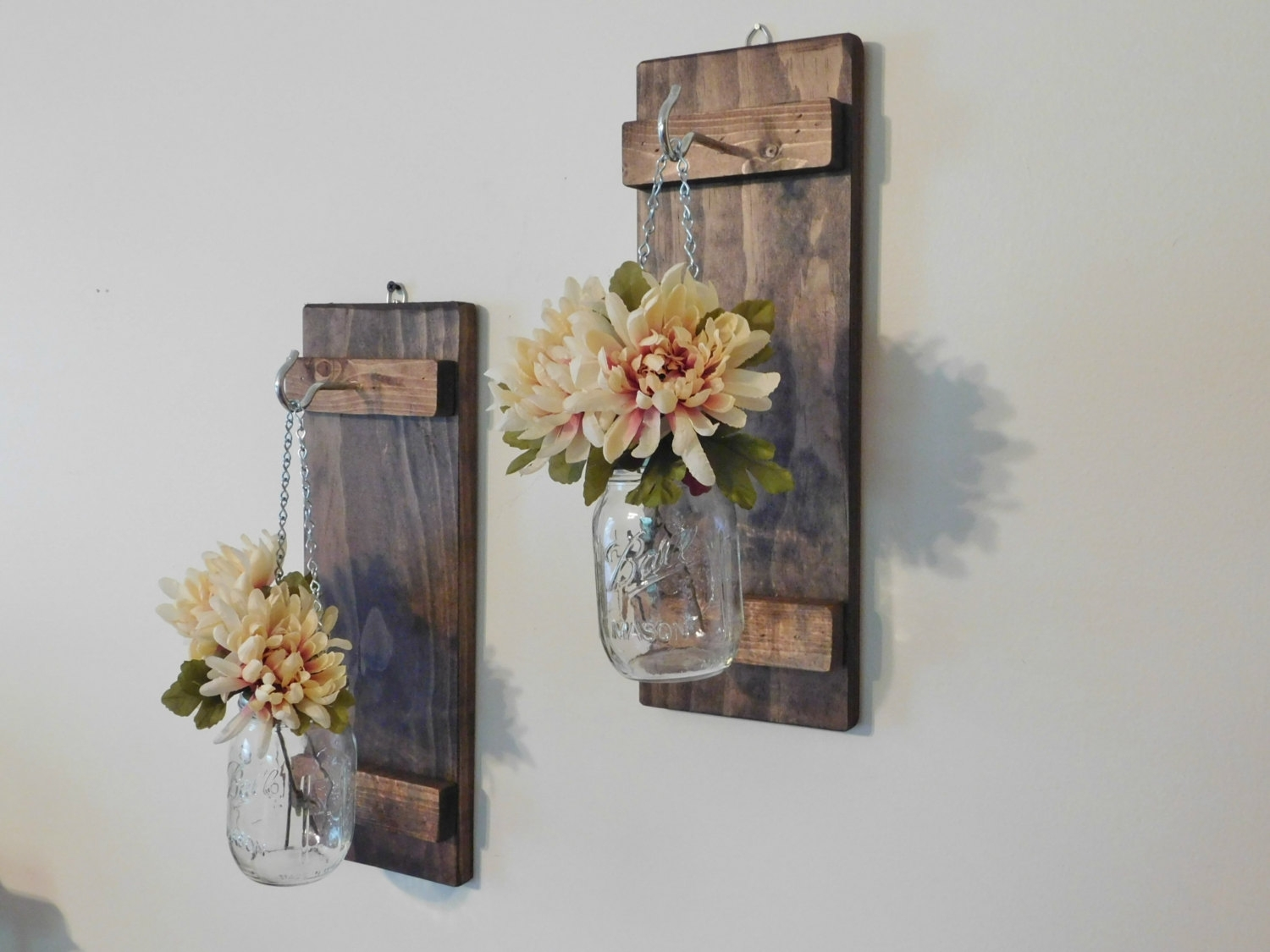 Hanging Mason Jar Wall Sconce Flower Vase Candle Sconce Wall, Mason With Regard To Most Recent Mason Jar Wall Art (View 6 of 20)