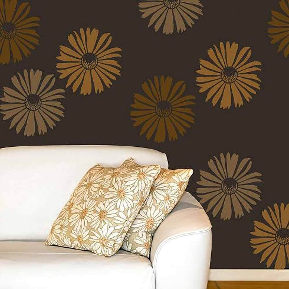Happy Daisy Wall Art Stencil – Medium – Floral Wall Stencils For Intended For Most Recently Released Stencil Wall Art (Gallery 9 of 20)