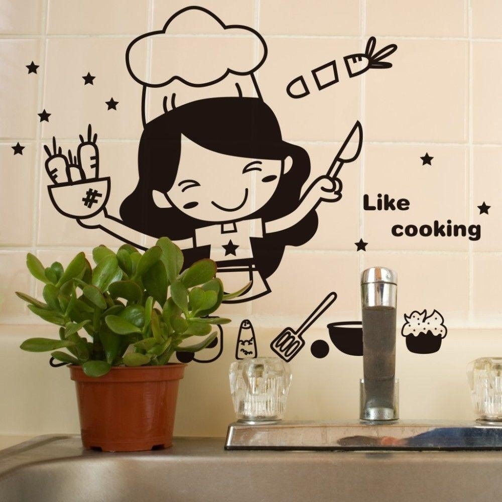 Happy Kitchen Girl Like Cooking Wall Sticker Cute Wall Art Home Intended For Recent Wall Sticker Art (View 5 of 15)