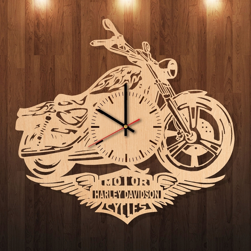 Harley Davidson Party Decorations Handmade Natural Wood Wall Clock Intended For Recent Harley Davidson Wall Art (Gallery 17 of 20)