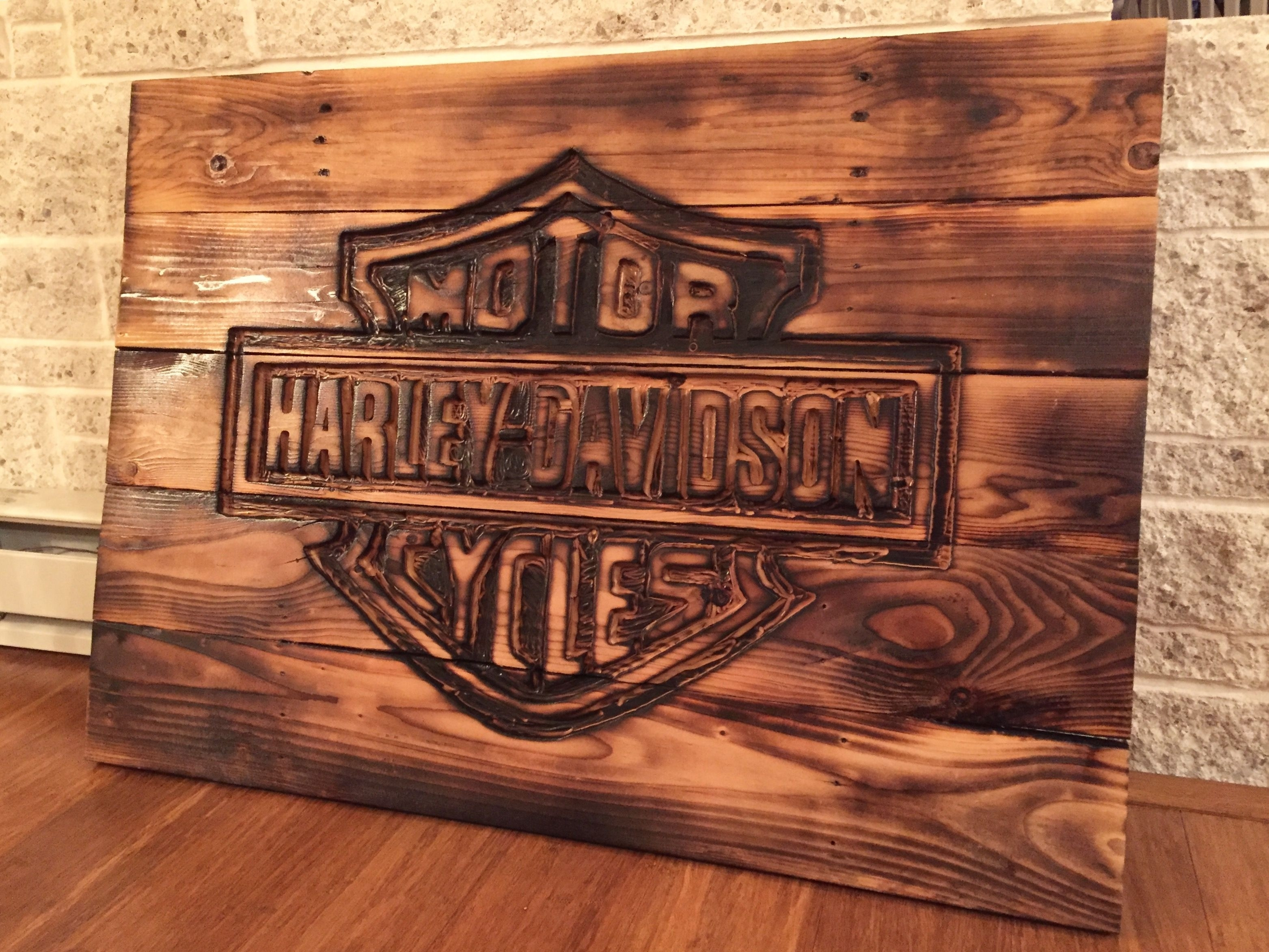 Harley Davidson Sign Made From Pallets Reclaimed Wood Scheme Of Pertaining To 2018 Harley Davidson Wall Art (Gallery 8 of 20)