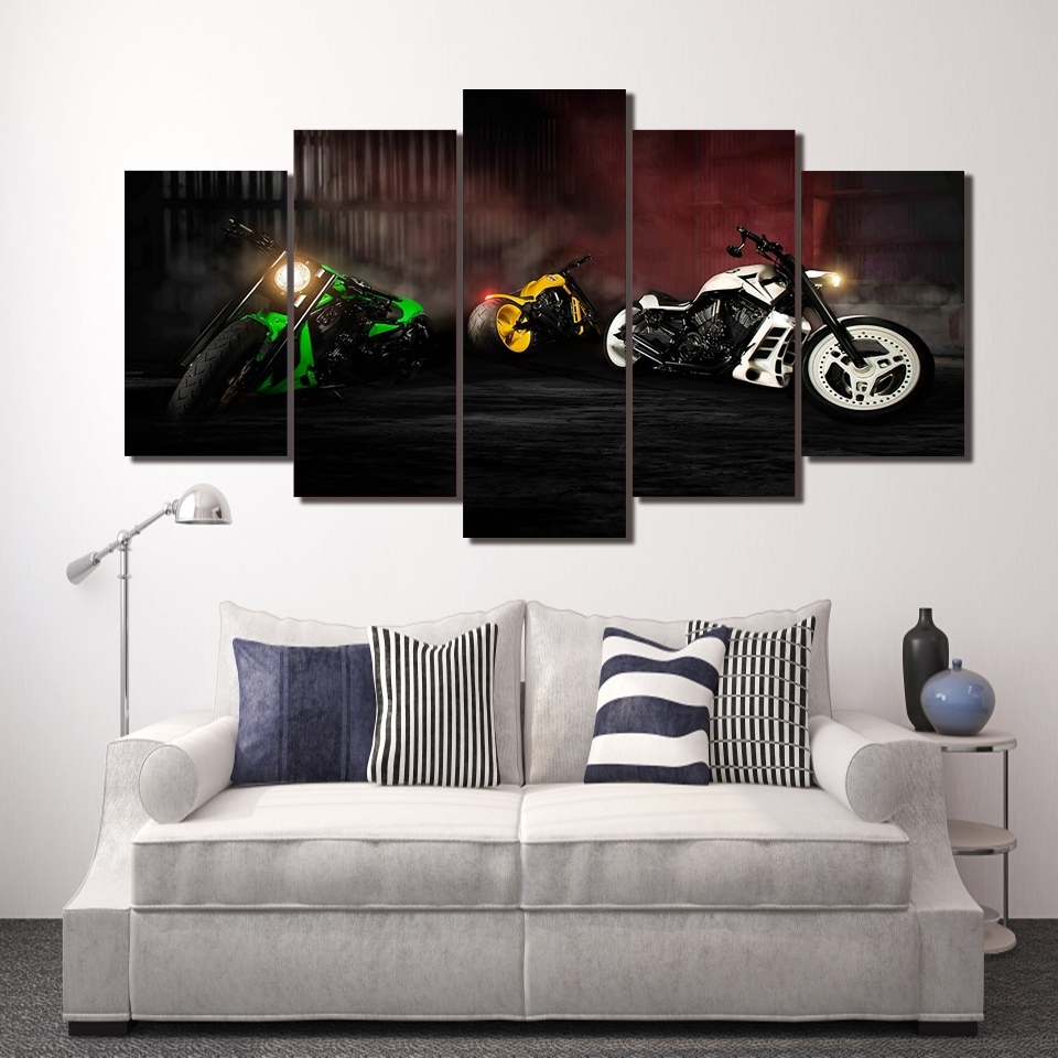 Harley Davidson Sport Motor 5 Pieces Canvas Framed Printed Wall Art Throughout Most Recent Harley Davidson Wall Art (View 10 of 20)