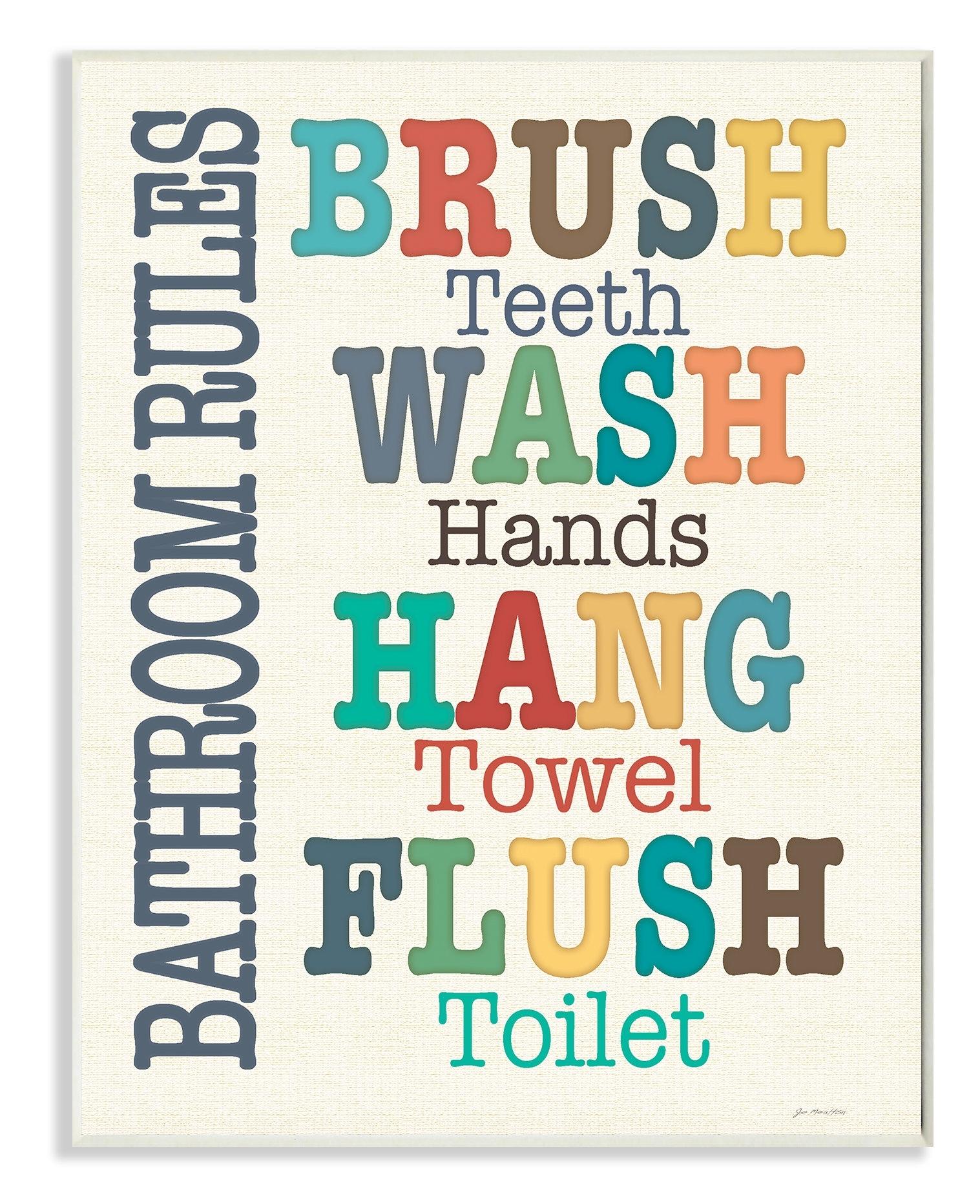 Harriet Bee Wall Plaque 'colorful Bathroom Rules' Textual Art Throughout 2018 Bathroom Rules Wall Art (Gallery 5 of 20)