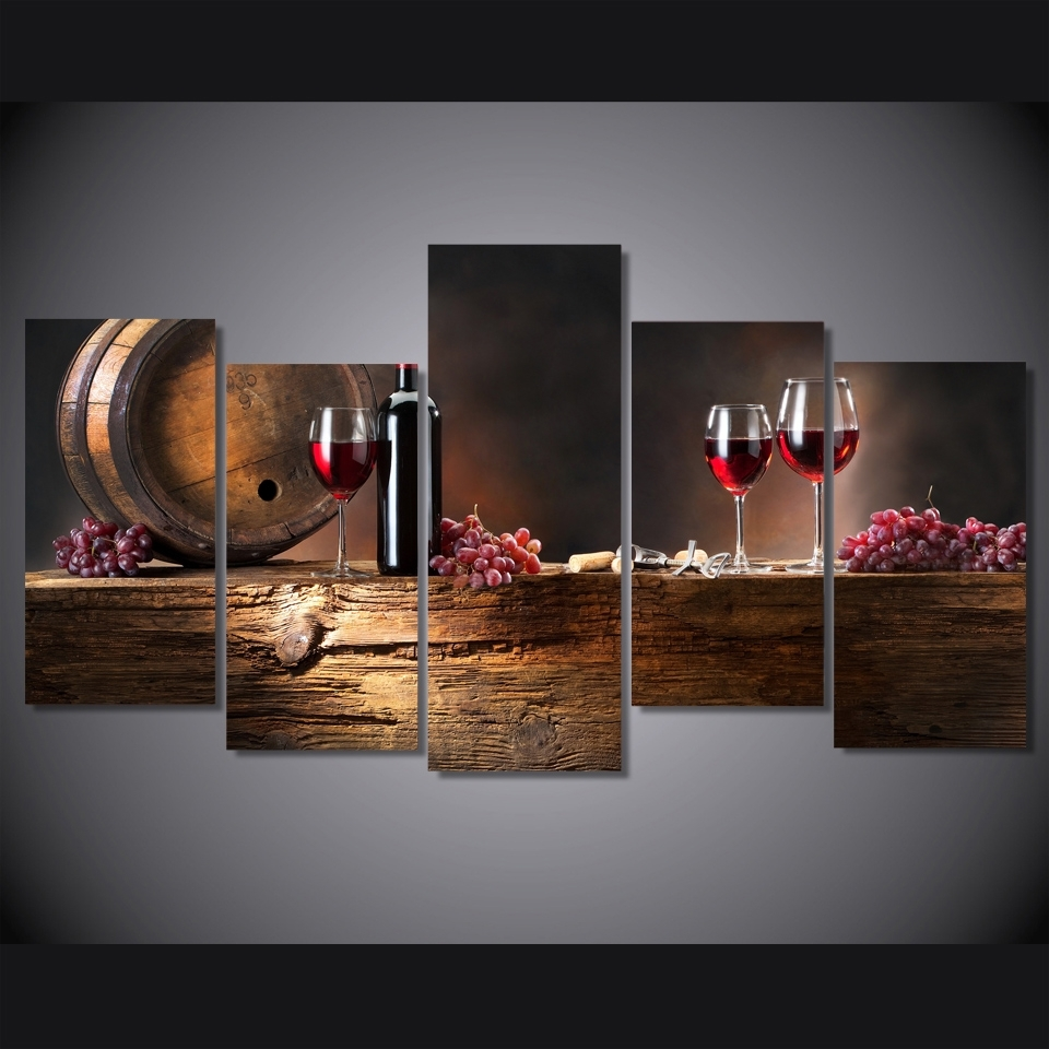 Hd 5 Piece Canvas Art Print Red Wine Grapes Wineglasses Painting With Most Up To Date Five Piece Canvas Wall Art (Gallery 16 of 20)