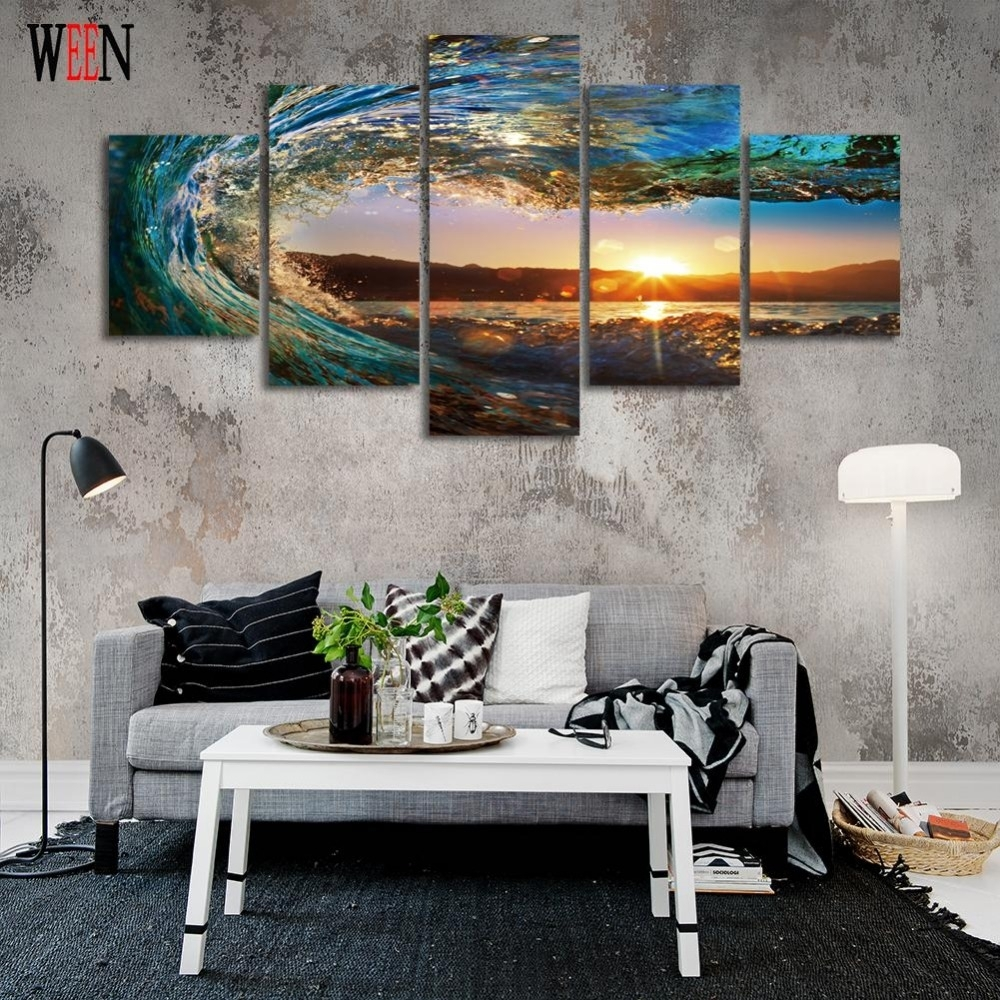 Hd Golf Canvas Wall Art Moderne 5 Stuk Zee Golven Pictures Voor Home Regarding Best And Newest Golf Canvas Wall Art (View 19 of 20)