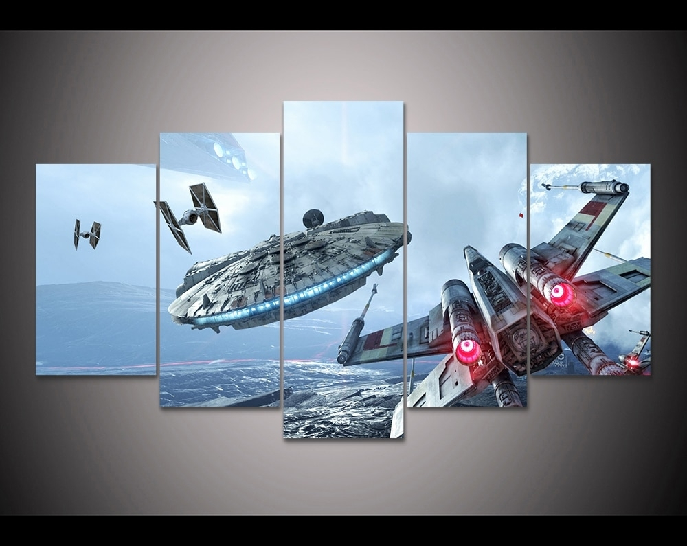 Hd Print 5 Pieces Canvas Wall Art Millennium Falcon X Wing Star Wars Throughout Recent Star Wars Wall Art (Gallery 5 of 15)