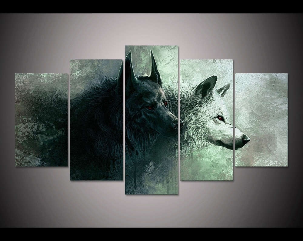 Hd Print 5 Pieces Canvas Wall Art Print Wolf Painting Canvas Modern For Newest Five Piece Canvas Wall Art (View 16 of 20)