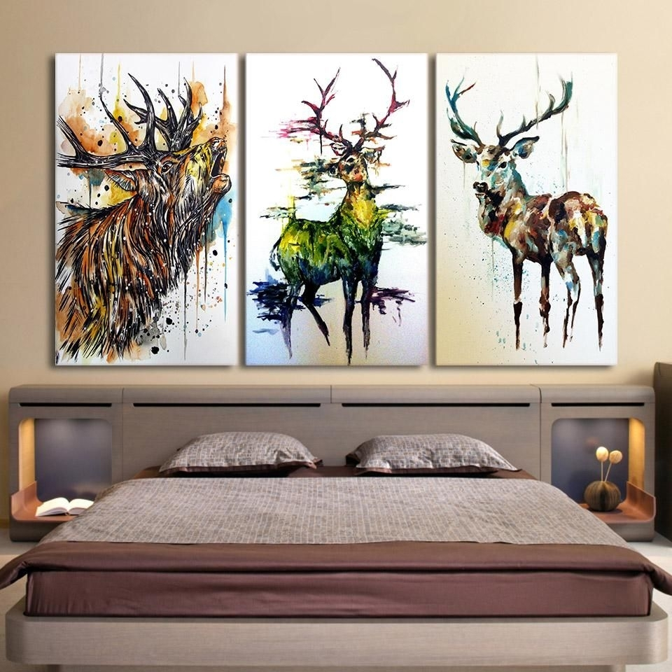 Hd Printed 3 Piece Elk Graffiti Deer Canvas Paintings For Living With Current Framed Wall Art For Living Room (View 11 of 20)