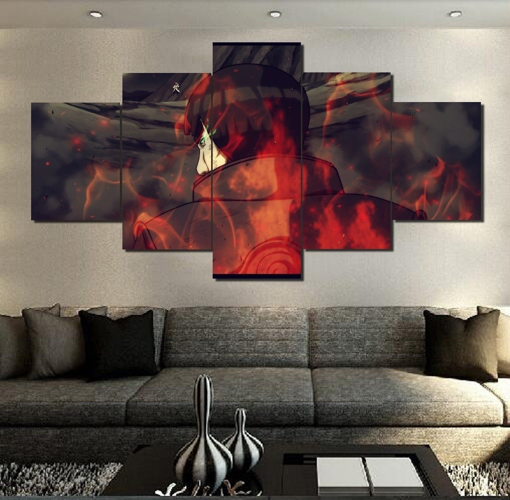 Hd Printed 5 Pcs Modern Decorative Naruto Anime Painting Canvas Wall In Latest Modern Painting Canvas Wall Art (Gallery 11 of 20)
