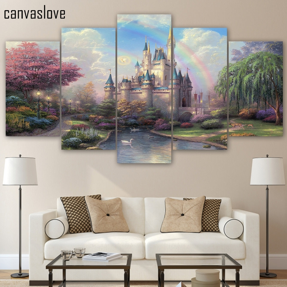 Hd Printed 5 Piece Canvas Art Cinderellas Castle Painting Wall Art For Best And Newest 5 Piece Wall Art (Gallery 16 of 20)