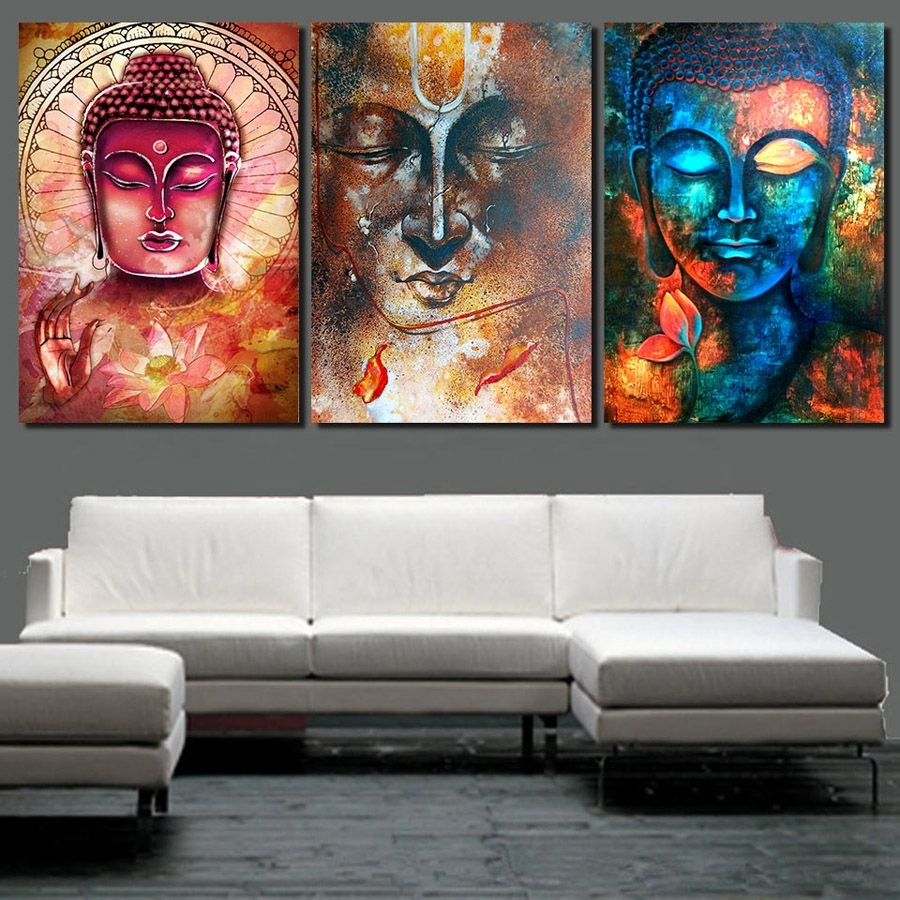 Hd Printed Abstract Buddha Wall Art 3 Piece Canvas Living Room Within 2018 3 Piece Canvas Wall Art (View 11 of 15)