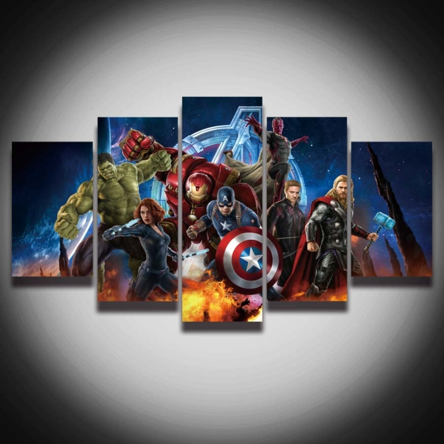 Hd Printed Avengers Super Hero Hulk Captain America Iron Man Inside 2017 Captain America Wall Art (View 8 of 15)