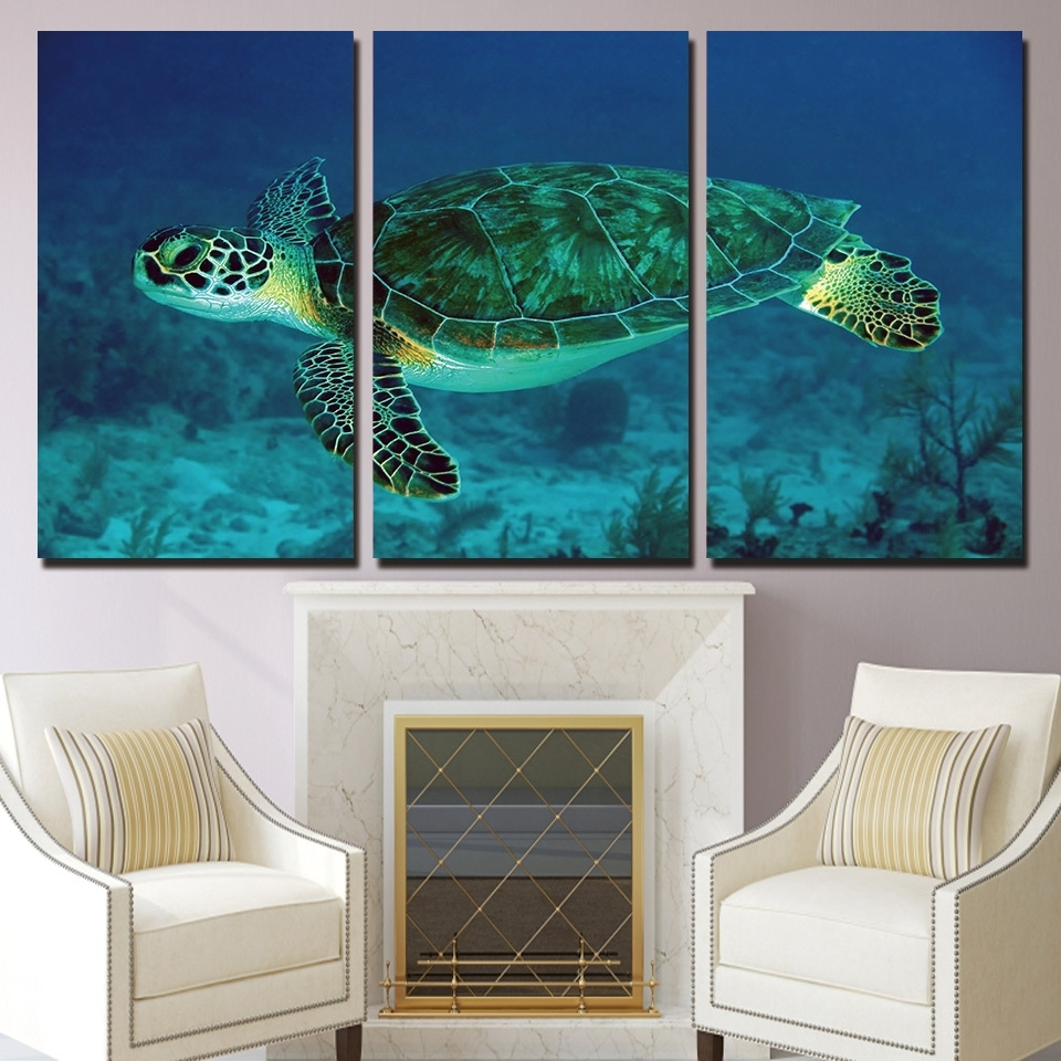 Hd Printed Canvas Painting Wall Art 3 Piece Green Sea Turtle Pertaining To Most Up To Date Sea Turtle Canvas Wall Art (Gallery 4 of 20)