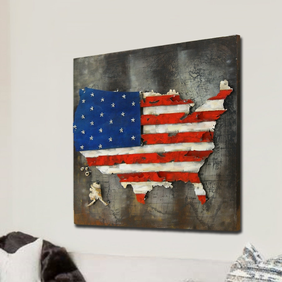 Hdc International 3D Us American Flag Wall Decor | Wayfair Throughout Most Popular American Flag Wall Art (View 7 of 15)