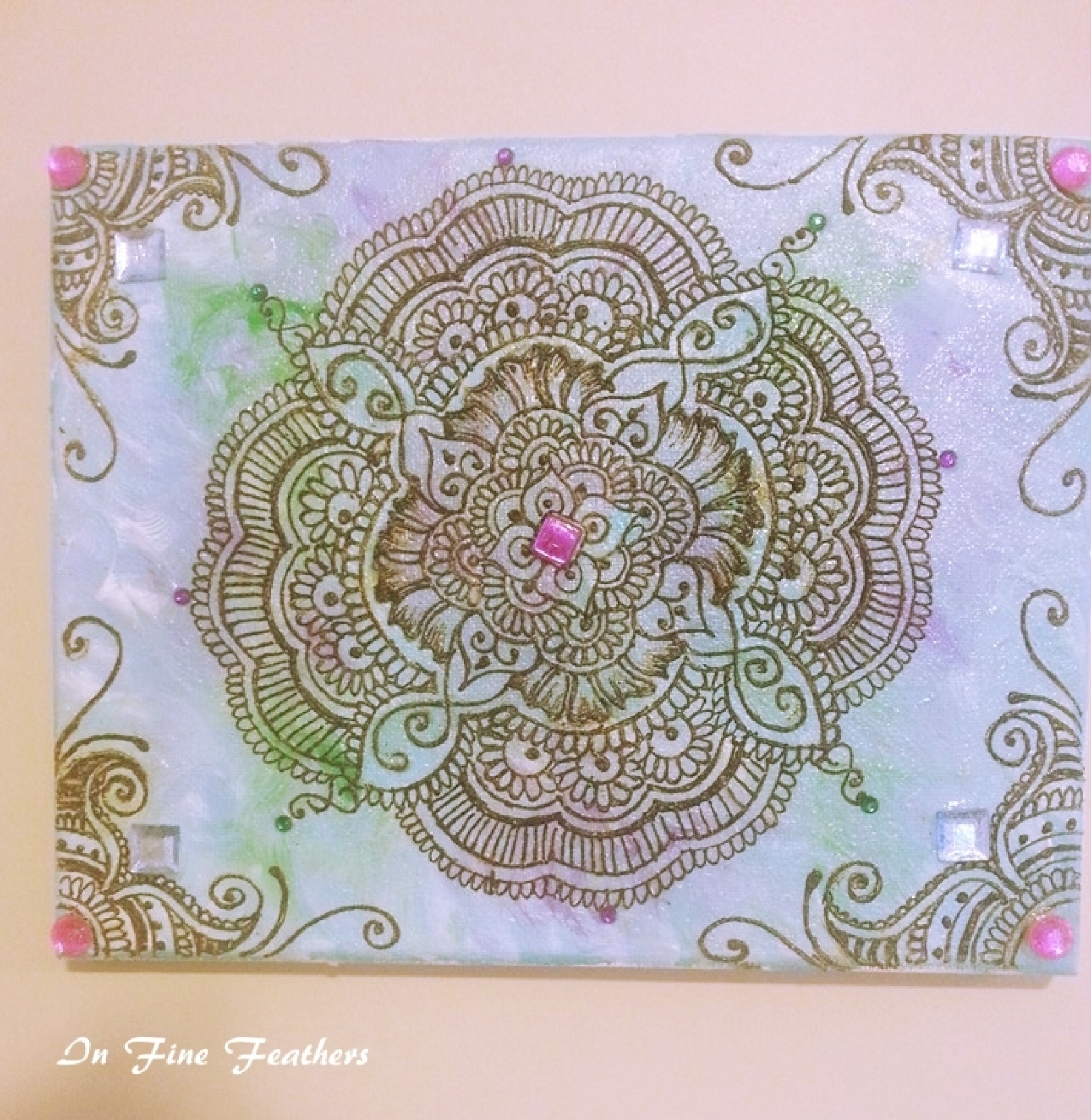 Henna Mandala Boho Chic Wall Art Yoga Studio Office Spring Decor With Regard To Most Recently Released Henna Wall Art (View 6 of 20)