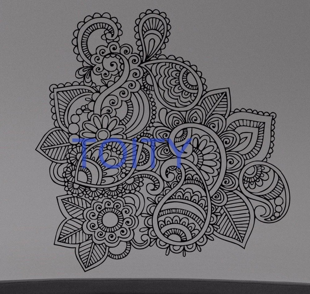 Henna Mehndi Wall Sticker Flower Paisley Doodle Vinyl Decal Home Regarding Most Popular Henna Wall Art (View 8 of 20)