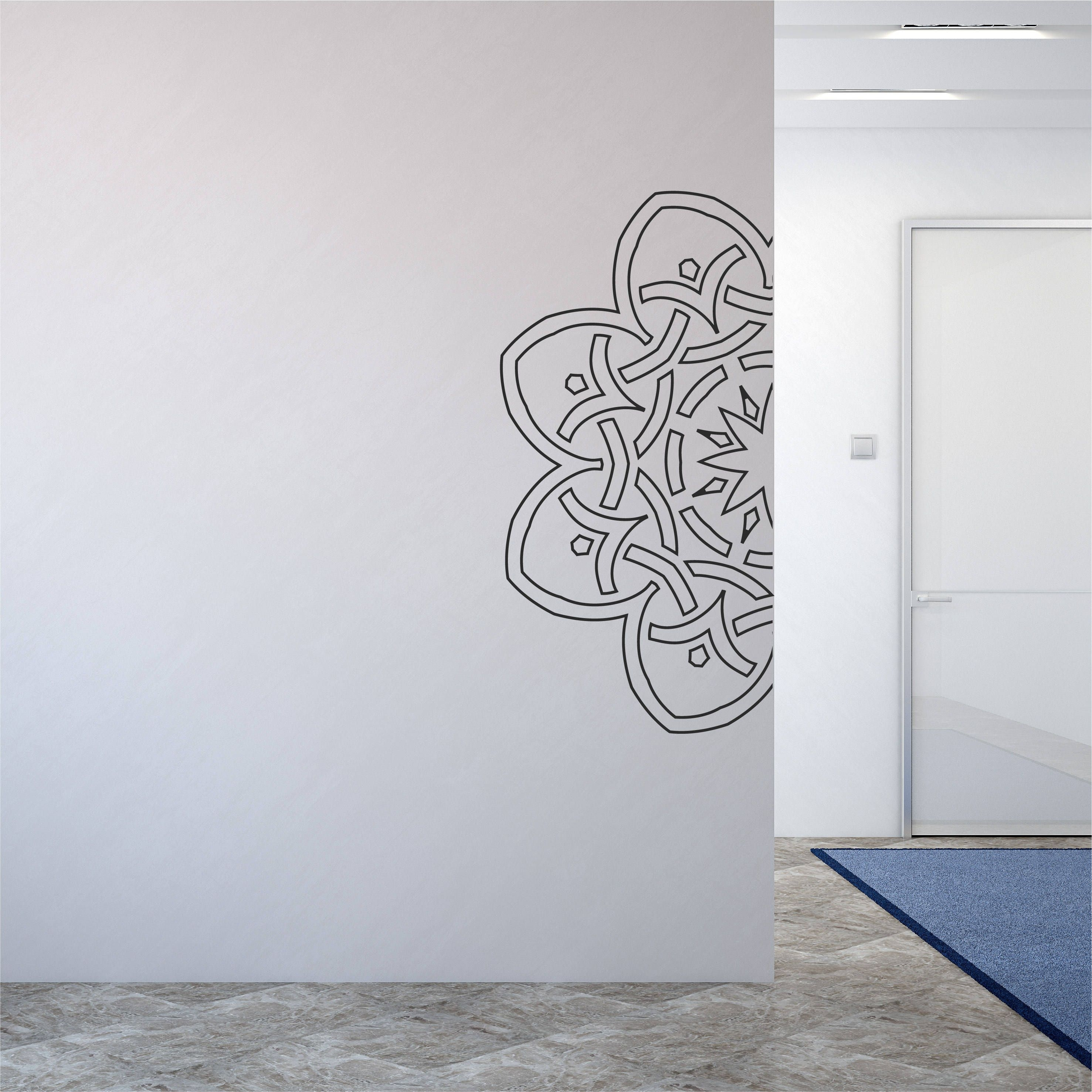 Henna Wall Decal Geometric Wall Sticker Pattern Design Hippie Decor Pertaining To Most Current Henna Wall Art (View 12 of 20)