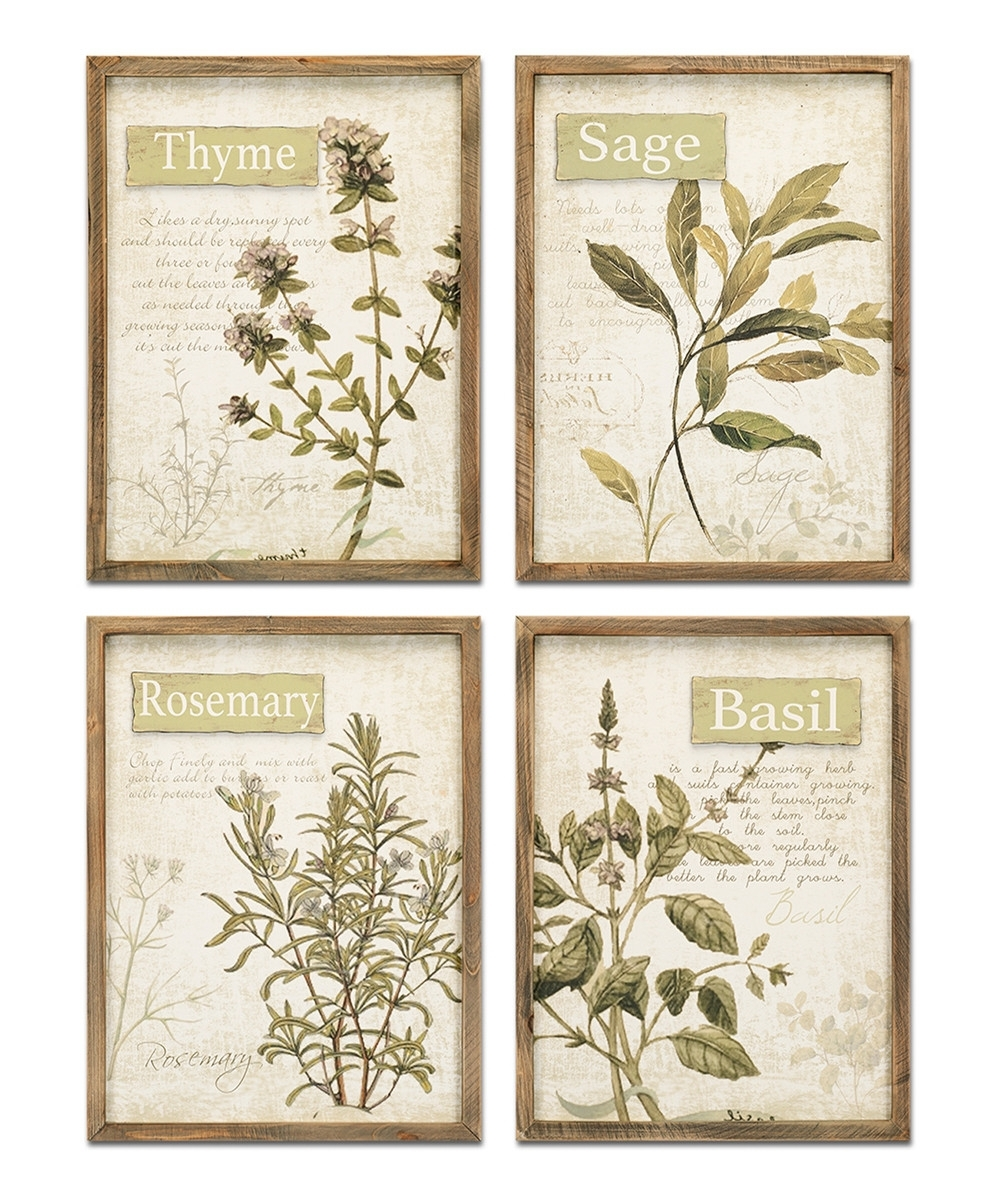Herb Wall Art Brilliant Framed Set Of Four Zulily – Mycraftingbox Inside Newest Herb Wall Art (View 7 of 20)