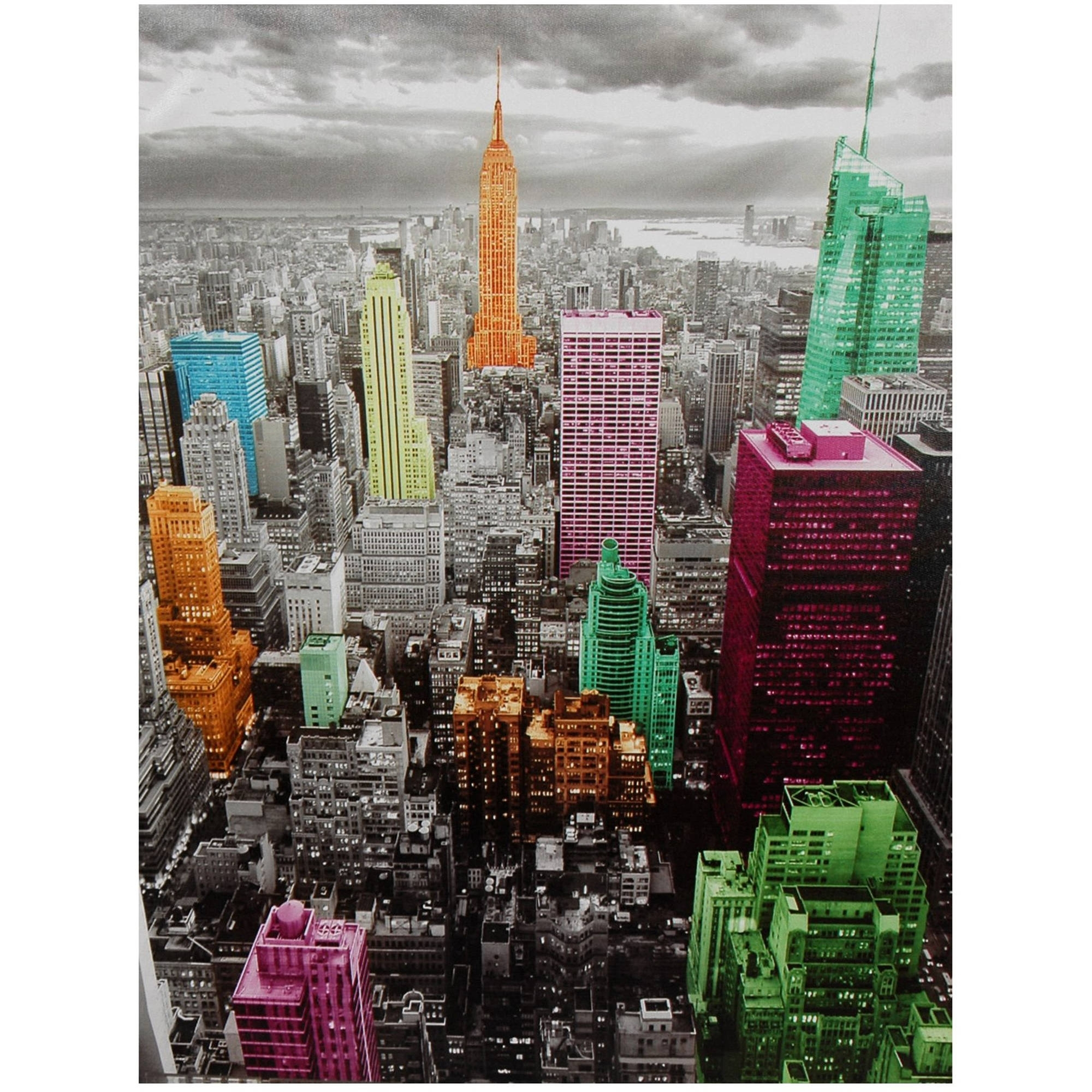 High Lights Of New York Skyline Canvas Wall Art – Walmart With Regard To Newest New York Canvas Wall Art (View 5 of 15)