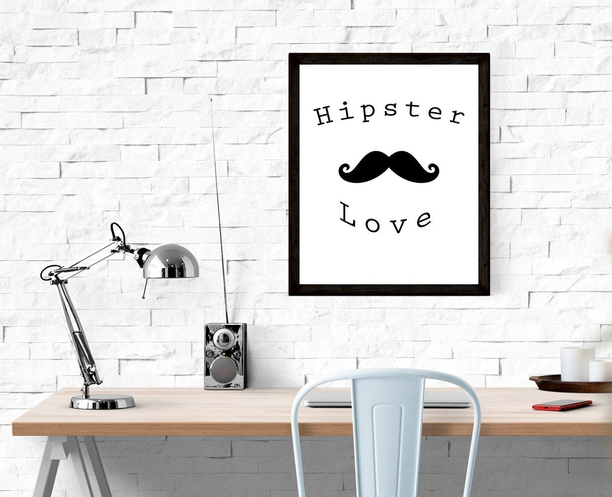 Hipster Love  Printable, Instant Download, Wall Art, Typography Intended For Most Current Word Art For Walls (View 10 of 20)