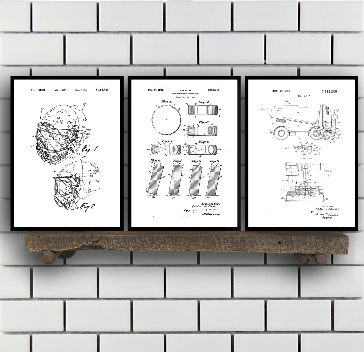 Hockey Patents Set Of 2 Prints, Hockey Prints, Hockey Posters Regarding Recent Hockey Wall Art (View 6 of 15)