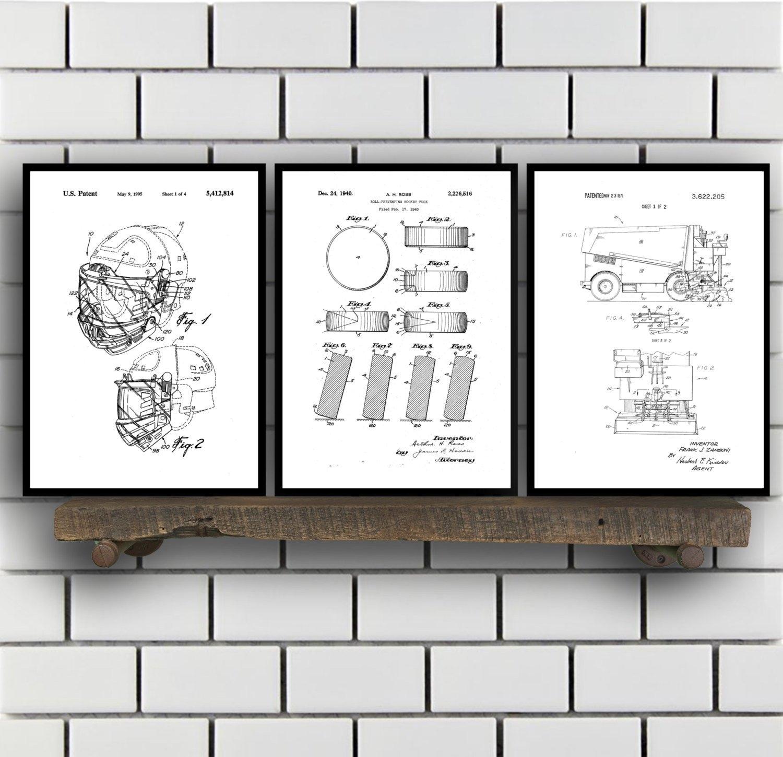 Hockey Patents Set Of 2 Prints, Hockey Prints, Hockey Posters Regarding Recent Hockey Wall Art (Gallery 5 of 15)
