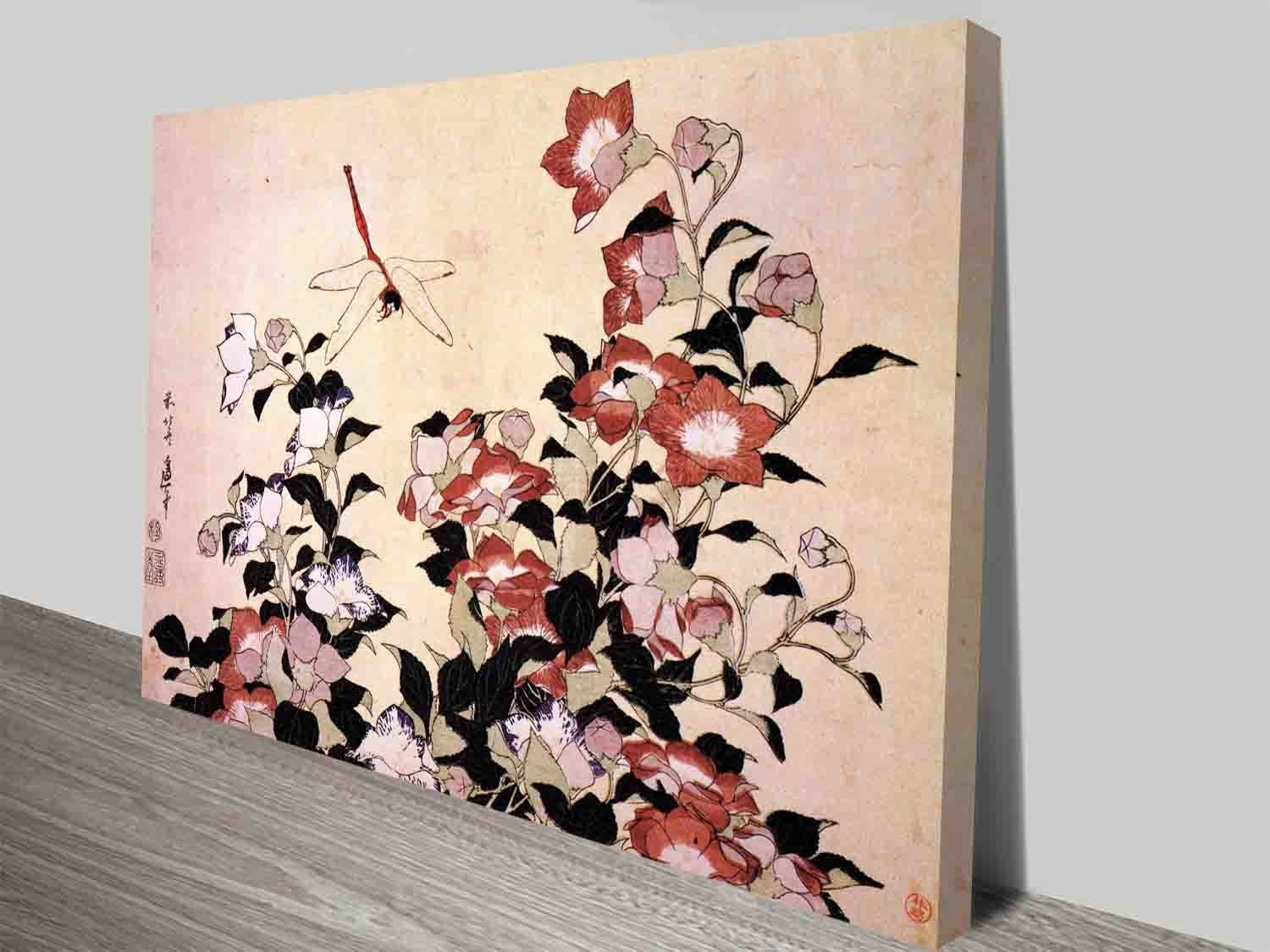 Hokusai Chinese Bell Flower And Dragon Fly Traditional Japanese Wall Regarding 2017 Japanese Wall Art (View 20 of 20)