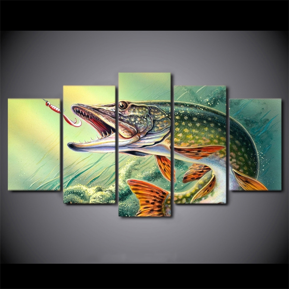 Home Decoration Canvas Painting Abstract Decorative 5 Panel Animal For Most Recent Fish Painting Wall Art (View 12 of 20)