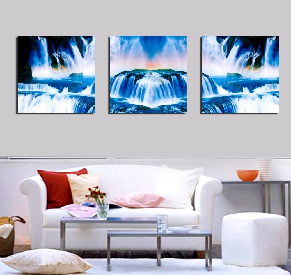 Home Goods Wall Art Canvas Chinese Waterfall Landscape Paintings For With 2017 Home Goods Wall Art (View 12 of 20)