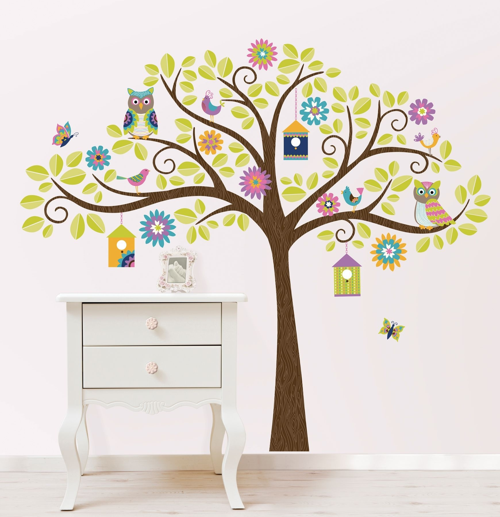 Hoot And Hang Out Tree Wall Art Sticker Kit With Best And Newest Wall Tree Art (View 7 of 20)