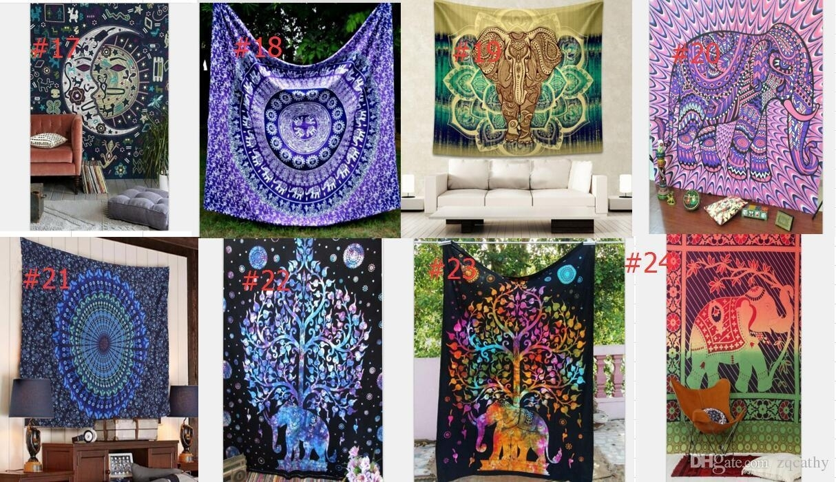 Hot Hippy Mandala Tapestry Bohemian Elephant Wall Hanging In Most Current Bohemian Wall Art (View 12 of 20)