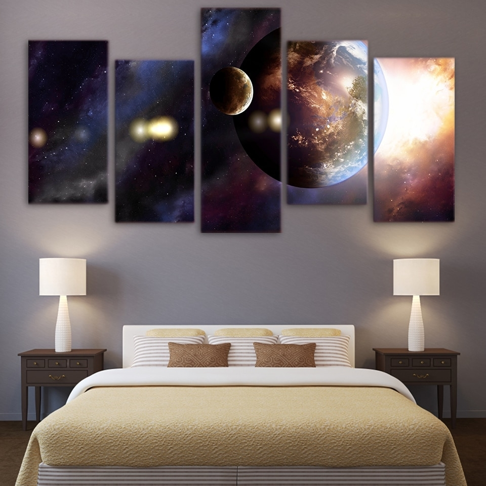 Hot Sale Canvas Living Room Pictures Home Decor 5 Panel Universe Within 2017 5 Panel Wall Art (View 18 of 20)