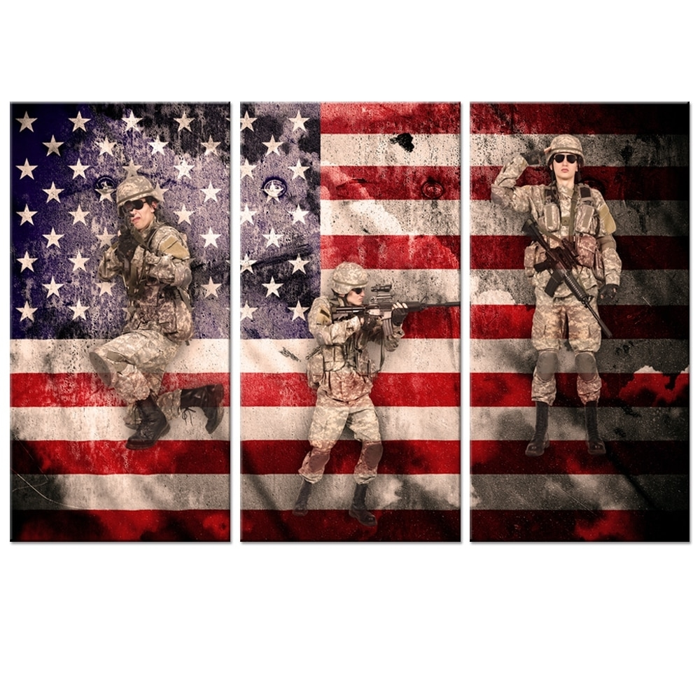 Hot Sale Vintage Metro American Flag Canvas Wall Art Military Family Inside 2017 Vintage American Flag Wall Art (View 11 of 20)