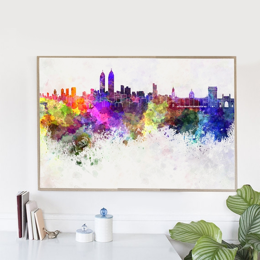 Hot Sale Watercolor Mirage Chicago City Canvas Art Print Poster Intended For Most Recent Chicago Wall Art (View 15 of 15)